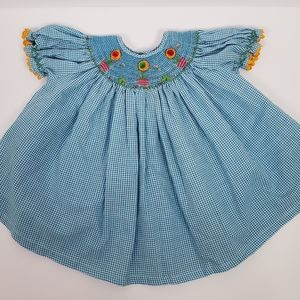Royal Child smocked gingham flower dress 9 mos